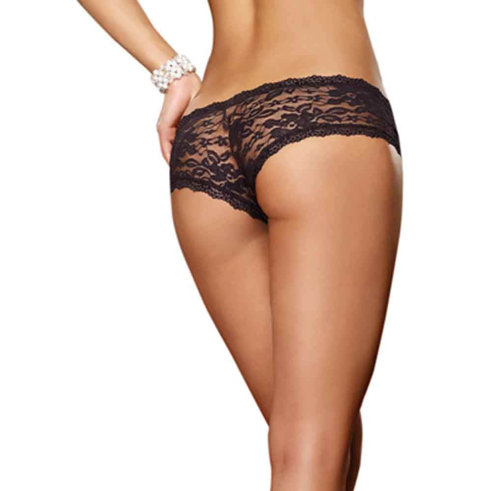 AIS Dreamgirl Black Stretch Lace Low-Rise Cheeky Hipster Panty 1375
